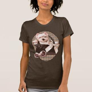 T-shirt Chiot de Westie de pied-de-poule