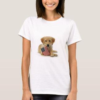 T-shirt Chiot et drapeau de golden retriever