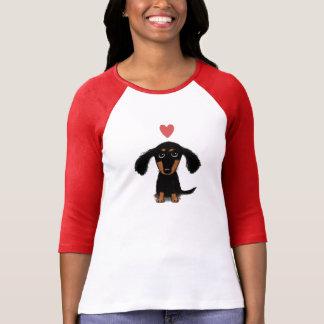 T-shirt Chiot mignon de teckel avec le coeur de Valentine