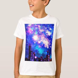 T-shirt Ciel nocturne de style d'horizon comique de ville