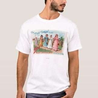 T-shirt Cinq filles veulent le chocolat du lait des