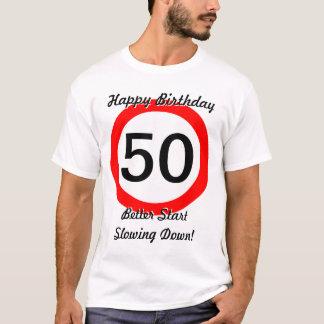 T-shirt cinquantième Limitation de vitesse de panneau