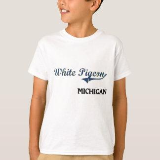 T-shirt Classique blanc de ville du Michigan de pigeon