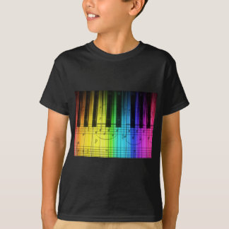 T-shirt Clavier et notes de piano d'arc-en-ciel
