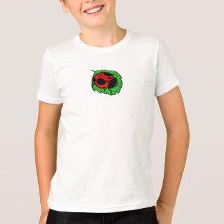 T-shirt Coccinelle de sourire sur la feuille verte mini -