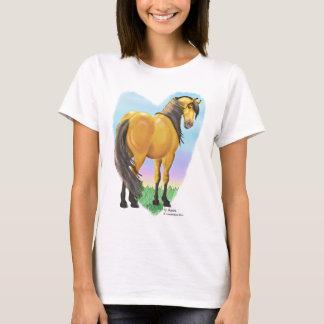 T-shirt Coeur brun grisâtre de cheval de peau de daim