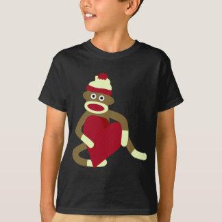 T-shirt Coeur d'amour de singe de chaussette