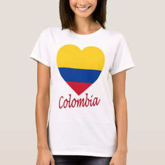 T-shirt Coeur de drapeau de la Colombie