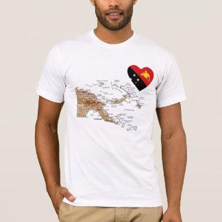 T-shirt Coeur de drapeau de la Papouasie-Nouvelle-Guinée