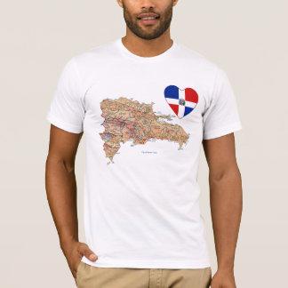 T-shirt Coeur de drapeau de la République Dominicaine et