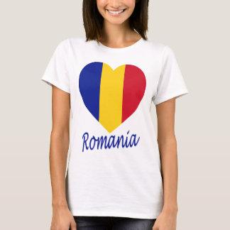 T-shirt Coeur de drapeau de la Roumanie