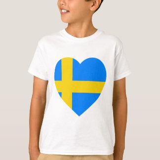 T-shirt Coeur de drapeau de la Suède