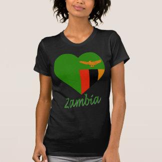 T-shirt Coeur de drapeau de la Zambie
