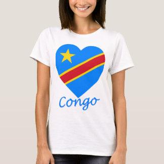 T-shirt Coeur de drapeau de République Democratic du Congo