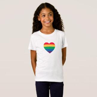 T-Shirt Coeur de fierté d'arc-en-ciel