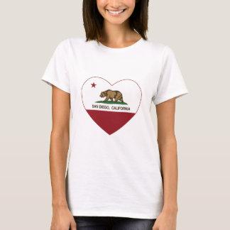 T-shirt coeur de San Diego de drapeau de la Californie