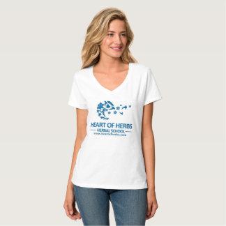 T-shirt Coeur de V-Cou de fines herbes de logo d'école