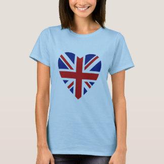 T-shirt Coeur et carte BRITANNIQUES de drapeau