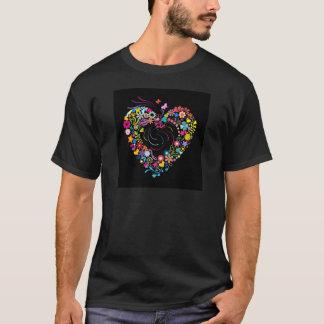 T-shirt Coeur floral avec des fleurs, des étoiles et des