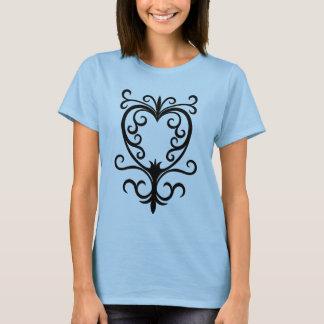 T-shirt Coeur gothique de scrollwork de damassé élégante