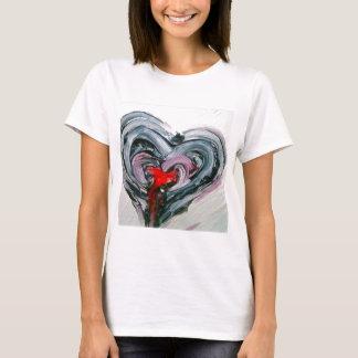 T-shirt Coeur noir et rouge T