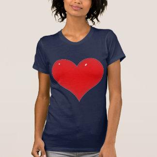 T-shirt Coeur rouge brillant (ajoutez votre texte)