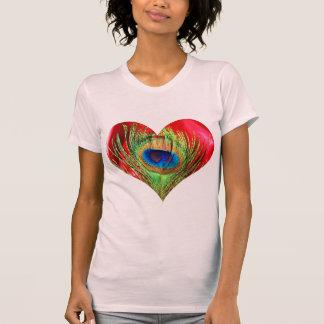 T-shirt Coeur rouge de paon