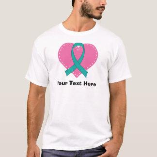 T-shirt Coeur turquoise personnalisé de ruban