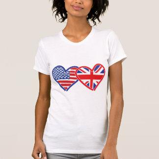 T-shirt Coeurs de drapeau américain/drapeau d'Union Jack