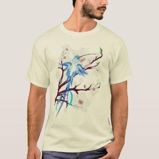 T-shirt Colibri et fleurs de cerisier bleus