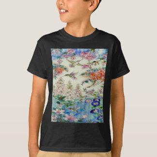 T-shirt Colibris et verre souillé wow de fleurs