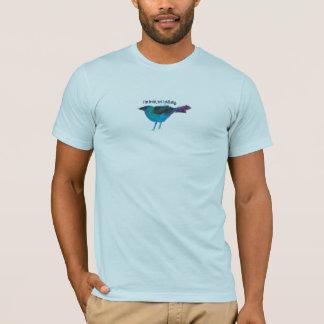 T-shirt Collage bleu de médias mélangés d'oiseau