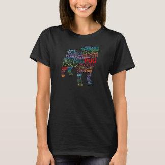 T-shirt Collage de mot de carlin - en couleurs