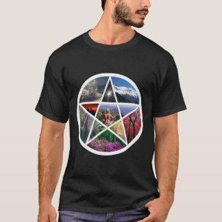 T-shirt Collage de pentagramme blanc