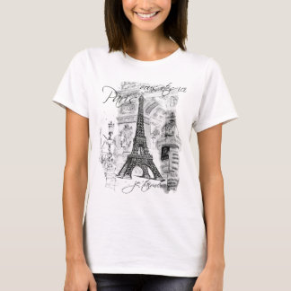 T-shirt Collage français de scène de Tour Eiffel de Paris