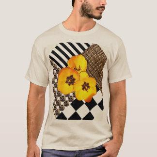 T-shirt Collage jaune de tulipe sur la chemise bronzage