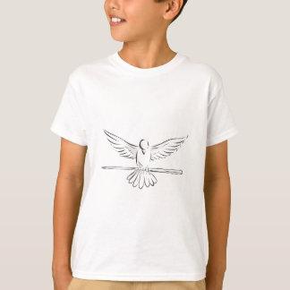 T-shirt Colombe de montée saisissant le dessin avant de