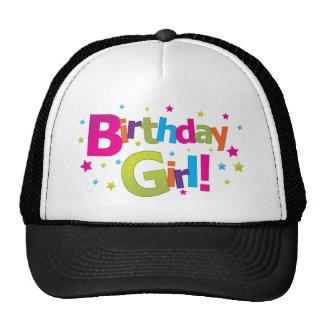 T-shirt coloré de fille d'anniversaire casquettes