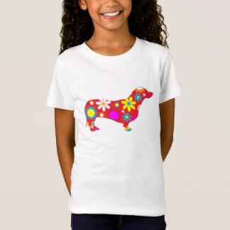 T-shirt coloré floral génial de filles de chien de