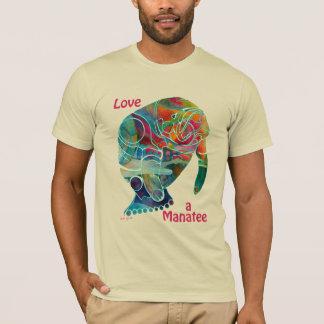 T-shirt coloré lumineux de lamantin d'amour