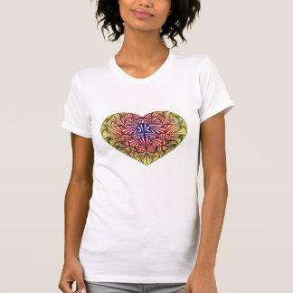 T-shirt coloré multi embrouillé de coeur