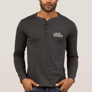 T-shirt Comme chemise de douille de Henley de la toile des