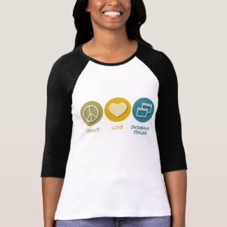 T-shirt Conception de bases de données d'amour de paix