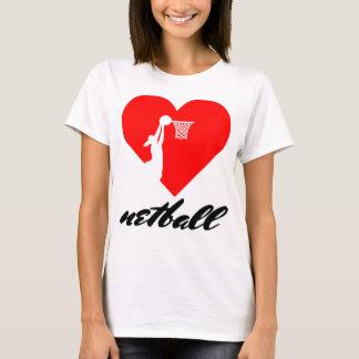 T-shirt Conception de coeur de net-ball d'amour