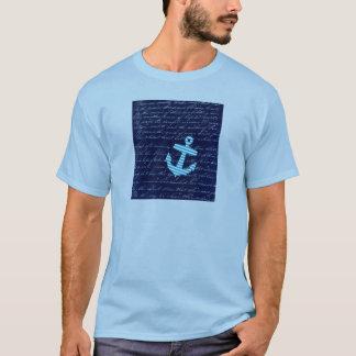 T-shirt Conception nautique d'écriture d'ancre de rayure