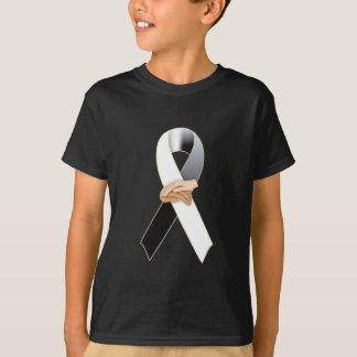 T-shirt Conscience noire/blanche d'Anit-Racisme de ruban