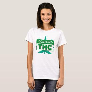 T-shirt Contient THC pour le fumeur de mauvaise herbe