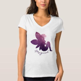 T-shirt cosmique féerique magique de V-Cou de