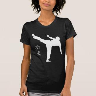 T-shirt Coup-de-pied/kanji élevés de Kung Fu
