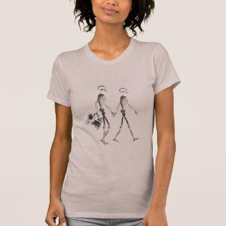 T-shirt Couples squelettiques de rayon X voyageant - noir